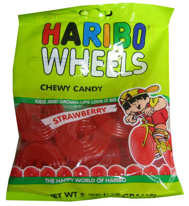 Haribo Wheels Chewy Candy, Strawberry, 5oz (142g) - Parthenon Foods