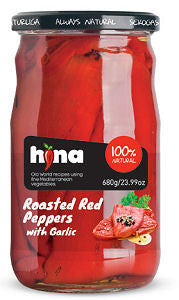 Roasted Red Peppers with Garlic (HINA) 680g (23.99 oz) - Parthenon Foods