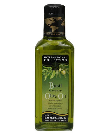 Extra Virgin Olive Oil with Basil (Int.Col.) 8.45 fl oz (250ml) - Parthenon Foods