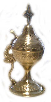 Censer, Designed Incense Burner, Large, Brass with handle and hinged lid - Parthenon Foods