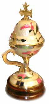 Censer, Incense Burner, Large, Brass-Enamel-Wood Base, White - Parthenon Foods