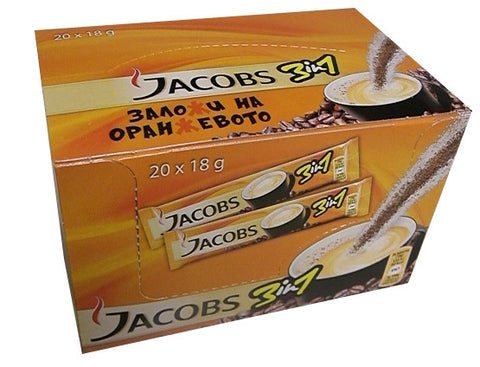 Jacobs 3 in 1 Instant Coffee Packs, CASE (20x18g) - Parthenon Foods
