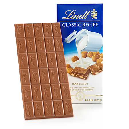 Lindt Milk Chocolate with Hazelnuts, 4.4oz(125g) - Parthenon Foods