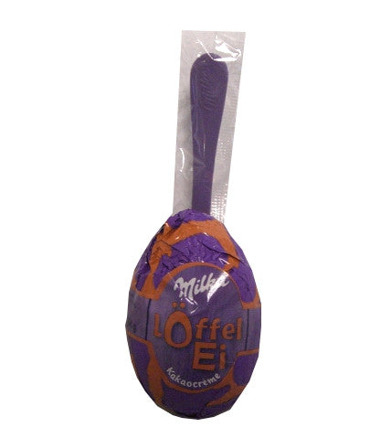 Milka Loffel Ei Cocoa Cream Single with spoon, 34g - Parthenon Foods