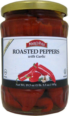 Red Roasted Peppers with Garlic (MP) 19.3oz - Parthenon Foods