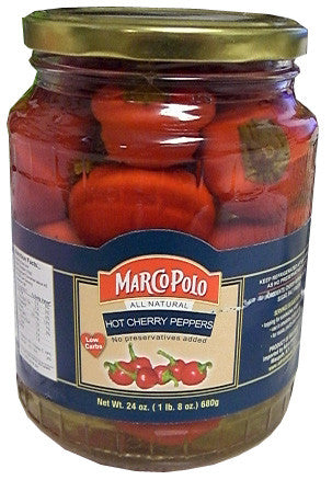 Hot Cherry Peppers, (MarcoPolo) 24 oz (680g) - Parthenon Foods
