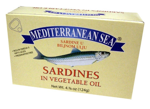 Sardines in Vegetable Oil (Mediterranean Sea) 124g - Parthenon Foods
