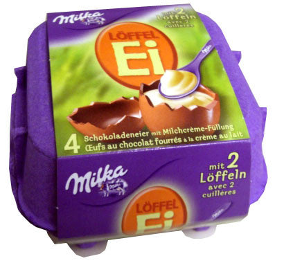 Milka LOFFEL Ei, Filled Chocolate Eggs, 4 piece, 136g From Germany - Parthenon Foods