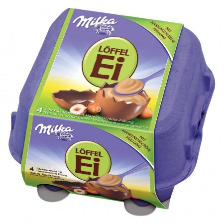 Milka LOFFEL Ei, Filled HAZELNUT Eggs, 4 piece, 136g From Germany - Parthenon Foods