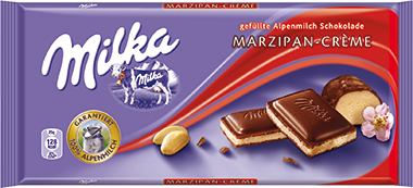 Milka Milk Chocolate with Marzipan Cream Filling, 100g - Parthenon Foods