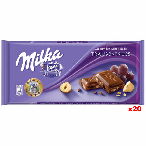 Milka Milk Chocolate with Raisins and Hazelnuts CASE (20 x 100g) - Parthenon Foods