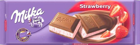 Milka Milk Chocolate Filled with Strawberry and Yogurt, 250g - Parthenon Foods