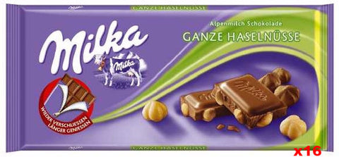 Milka Milk Chocolate-Whole Hazelnuts, CASE (16 x 100g) - Parthenon Foods