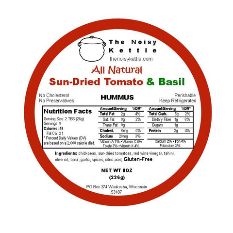 Sun-Dried Tomato & Basil Hummus (NoisyKettle) 8 oz (226g) - Parthenon Foods