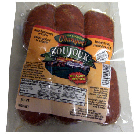 Soujouk-Dried Beef Sausage, HOT and SPICY, approx. 1.0 lb - Parthenon Foods
