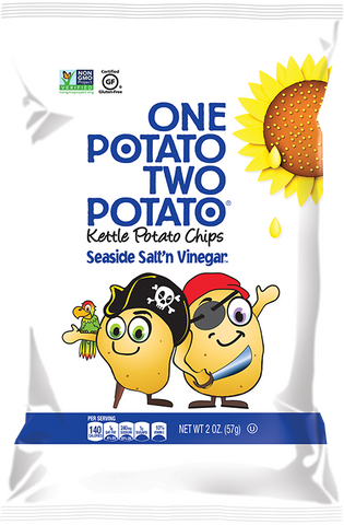 One Potato Two Potato Kettle Potato Chips, Seaside Salt'n Vinegar, 2 oz - Parthenon Foods