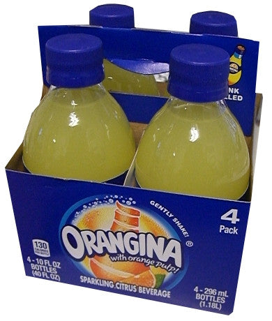Orangina Sparkling Citrus Beverage with Pulp (4 Pack) 4 x 10 oz Bottles - Parthenon Foods