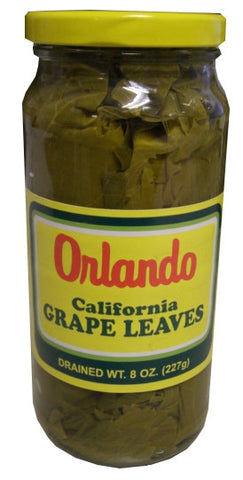 California Grape Leaves -Orlando 1lb SMALL jar, DR.WT. 8oz - Parthenon Foods