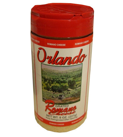 Grated Romano Cheese (OrlandoGreco) 8 oz, plastic shaker - Parthenon Foods