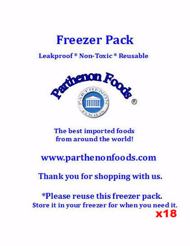 "Freezer Pack - 16 oz.   6"" x 1"" CASE 18 pc - Parthenon Foods"