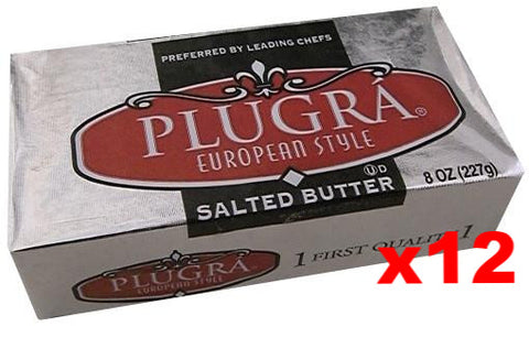 Plugra European Style SALTED Butter, CASE (12x8 oz) - Parthenon Foods