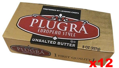Plugra European Style Unsalted Butter, CASE (12x8 oz) - Parthenon Foods