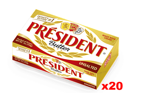 President Imported Unsalted Butter (CASE) (20 x 7 oz) - Parthenon Foods