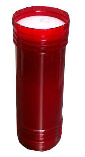 Candle in Red Container, 8in. High x 2.75in. diam. - Parthenon Foods