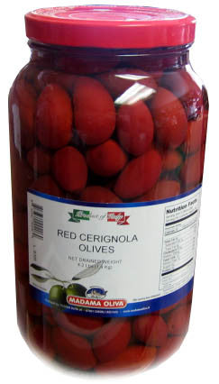 Red Cerignola Olives, 4.2 lbs JAR - Parthenon Foods
