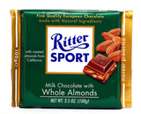 Ritter Sport Milk Chocolate with Whole Almonds, 100g - Parthenon Foods