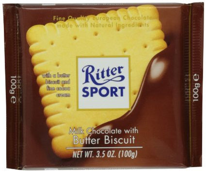 Ritter Sport Milk Chocolate with Butter Biscuit, 100g - Parthenon Foods