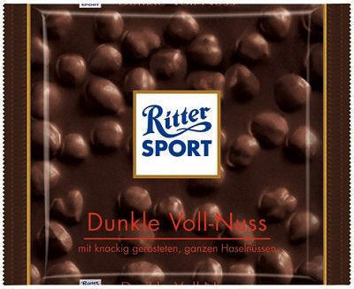 Ritter Sport DARK Chocolate with Whole Hazelnuts, 100g - Parthenon Foods