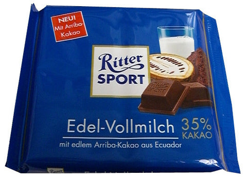 Ritter Sport Chocolate, Edel-Vollmilch, 35% Cocoa, 100g - Parthenon Foods