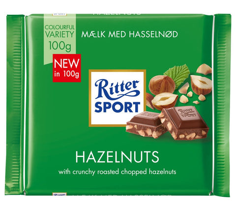 Ritter Sport Milk Chocolate with Chopped Hazelnuts, 100g