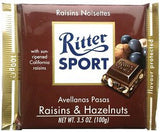 Ritter Sport Milk Chocolate with Nuts and Raisins, 100g - Parthenon Foods