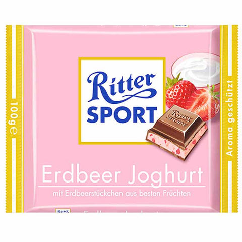Ritter Sport Strawberry Yogurt Cream Chocolate, 100g - Parthenon Foods