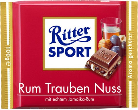 Ritter Sport Milk Chocolate with RUM, Raisins, and Hazelnuts 100g - Parthenon Foods