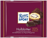 Ritter Sport Dark Bitter Chocolate, 50%, 100g - Parthenon Foods