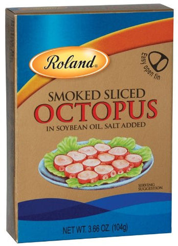 Roland Smoked Sliced Octopus, 3.66-Ounce Cans (Pack of 10) - Parthenon Foods