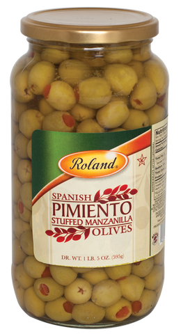 Spanish Pimiento Stuffed Manzanilla Olives (Roland) DR.WT. 1 lb 5 oz - Parthenon Foods