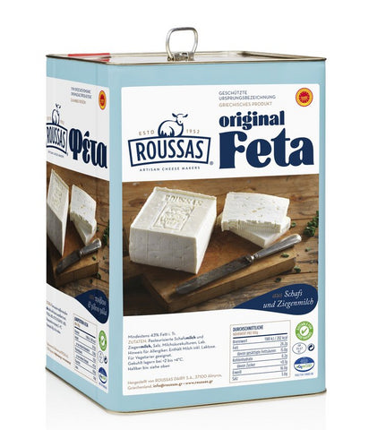 Roussas Greek Feta Cheese, 13 kg (28.66 lb) Tin - Parthenon Foods