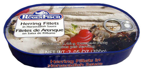 Herring Fillets in Horseradish Sauce (RugenFisch) 200g - Parthenon Foods