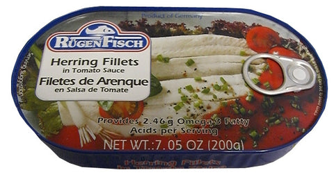 Herring Fillets in Tomato Sauce (RugenFisch) 200g - Parthenon Foods