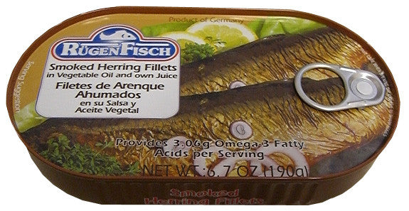 Smoked herring fillets rugenfisch 6 7 oz 190g for Smoked herring fish
