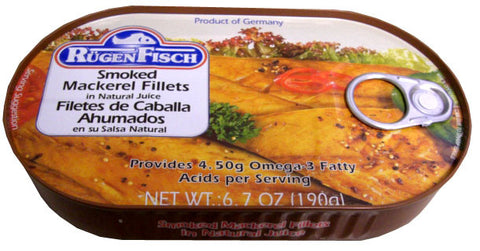 Smoked Mackerel Fillets (RugenFisch) 6.7 oz (190g) - Parthenon Foods