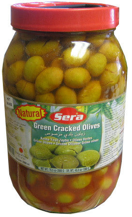 Green Cracked Olives (Sera) HOT, 70.5oz (2000g) - Parthenon Foods