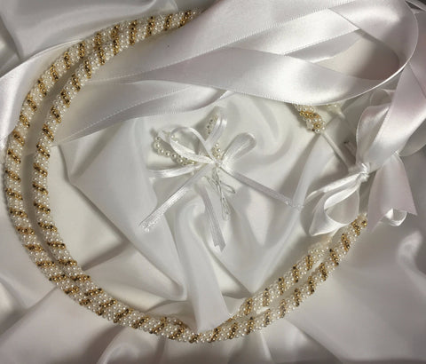 Stefana, Wedding Crowns, White Pearl and Gold, 1 Pair - Parthenon Foods
