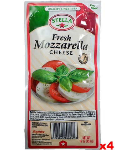 Fresh Mozzarella Cheese (STELLA) 4 x 16oz - 4 Pack - Parthenon Foods