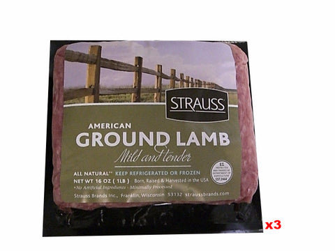 Ground American Lamb 3 lbs (3 x 1lb packs) - Parthenon Foods  - 1