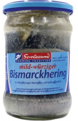 Bismarck Herring, Marinated (Strelasund) Jar, (17.5 oz) 500g - Parthenon Foods
